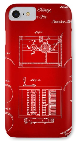 1794 Eli Whitney Cotton Gin Patent Red IPhone Case by Nikki Marie Smith