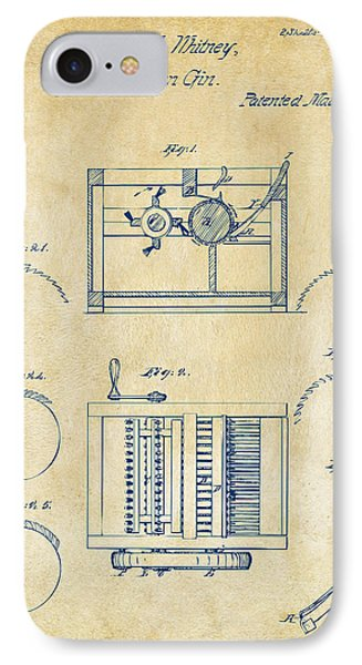 1794 Eli Whitney Cotton Gin Patent Vintage IPhone Case by Nikki Marie Smith