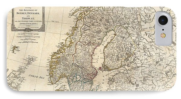 1794 Laurie And Whittle Map Of Norway Sweden Denmark And Finland IPhone Case by Paul Fearn