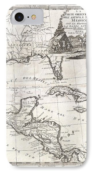 1798 Cassini Map Of Florida Louisiana Cuba And Central America IPhone Case by Paul Fearn