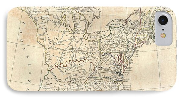 1799 Cruttwell Map Of The United States Of America IPhone Case by Paul Fearn