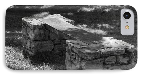 IPhone Case featuring the photograph 1800's Stone And Wood Bench by Robert Hebert