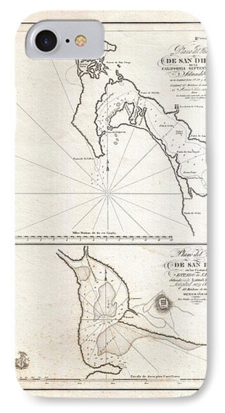 1825 Victoria Map Of San Diego California And San Blas Mexico  Phone Case by Paul Fearn