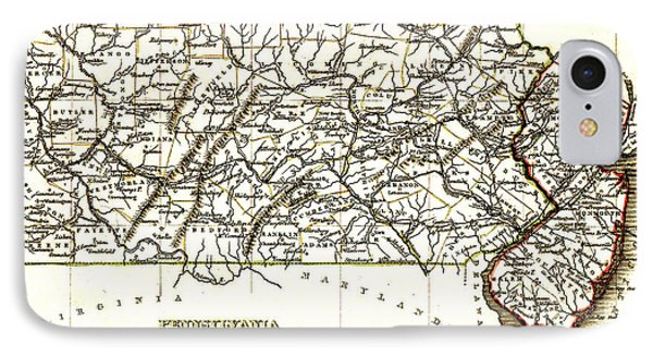 1835 Pennsylvania And New Jersey Map Phone Case by Bill Cannon