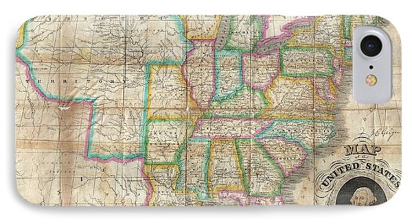 1835 Webster Map Of The United States Phone Case by Paul Fearn
