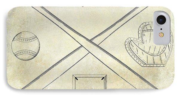 1838 Baseball Drawing  IPhone Case by Jon Neidert