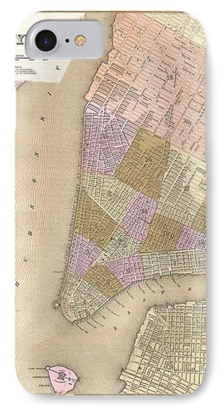 1839 Bradford Map Of New York City IPhone Case
