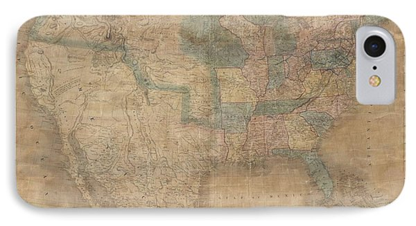 1839 Burr Wall Map Of The United States  IPhone Case by Paul Fearn