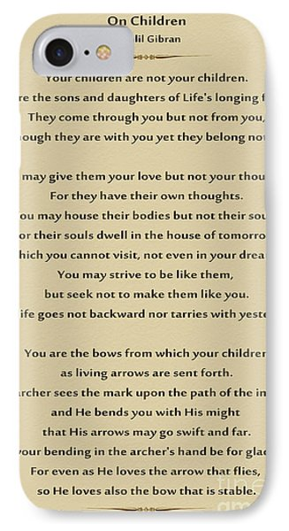 184- Kahlil Gibran - On Children IPhone Case by Joseph Keane