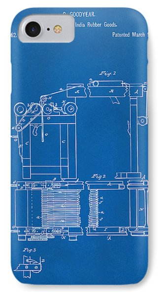 1844 Charles Goodyear India Rubber Goods Patent Blueprint IPhone Case by Nikki Marie Smith