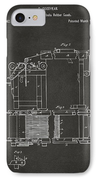 1844 Charles Goodyear India Rubber Goods Patent Gray IPhone Case by Nikki Marie Smith