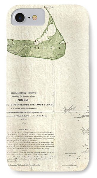 1846 Us Coast Survey Map Of Nantucket  IPhone Case by Paul Fearn