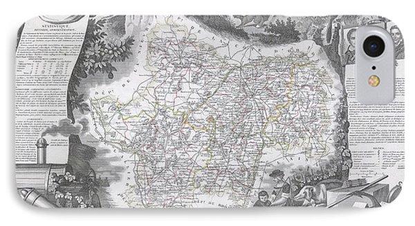 1847 Levasseur Map Of Saone Et Loire France IPhone Case by Paul Fearn