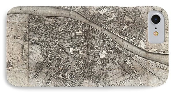 1847 Molini Pocket Map Of Florence IPhone Case by Paul Fearn