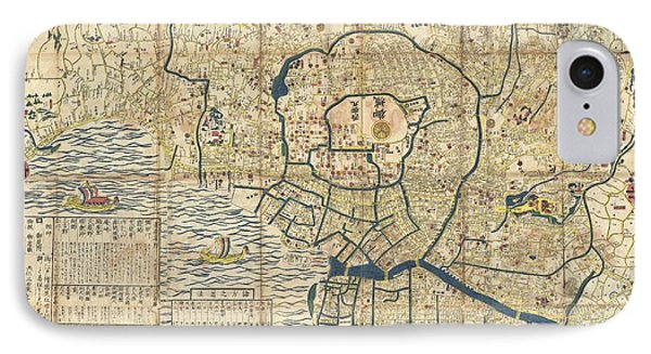 1849 Japanese Map Of Edo Or Tokyo IPhone Case by Paul Fearn