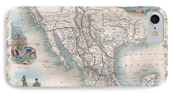 1851 Tallis Map Of Mexico Texas And California  IPhone Case by Paul Fearn