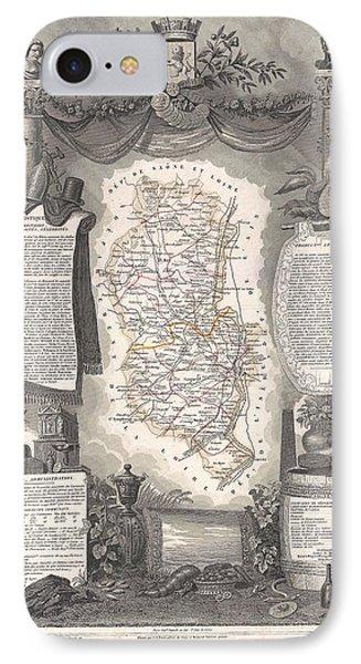 1852 Levasseur Map Of The Department Du Rhone France  Beaujolais Wine Region IPhone Case by Paul Fearn