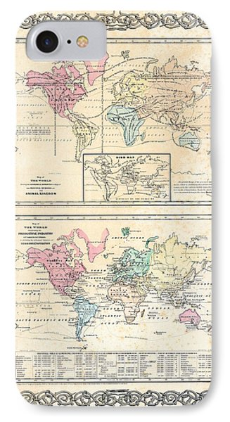 IPhone Case featuring the photograph 1855 Antique First Plate Ortelius World Map Animal Kingdom World Commerce And Navigation by Karon Melillo DeVega