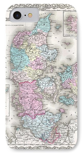1855 Colton Map Of Denmark IPhone Case by Paul Fearn