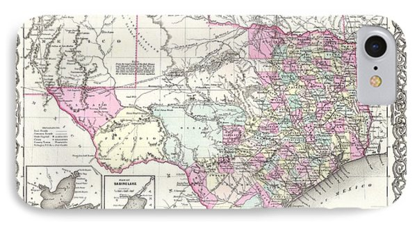 1855 Colton Map Of Texas IPhone Case by Paul Fearn