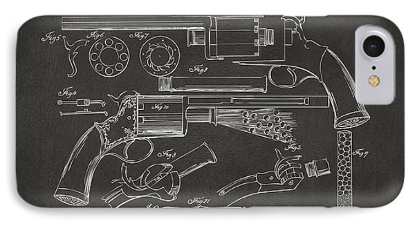 1856 Lemat Revolver Patent Artwork - Gray IPhone Case by Nikki Marie Smith