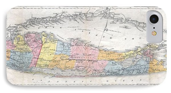 1857 Colton Travellers Map Of Long Island New York IPhone Case by Paul Fearn