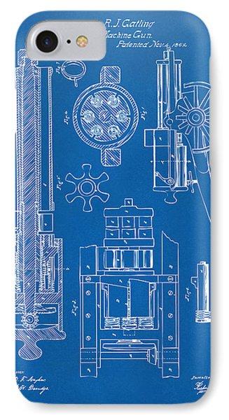 1862 Gatling Gun Patent Artwork - Blueprint IPhone Case by Nikki Marie Smith