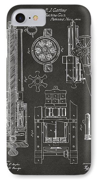 1862 Gatling Gun Patent Artwork - Gray IPhone Case by Nikki Marie Smith
