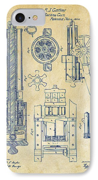 1862 Gatling Gun Patent Artwork - Vintage IPhone Case by Nikki Marie Smith