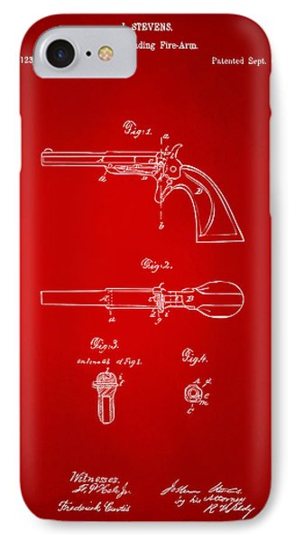 1864 Breech Loading Pistol Patent Artwork - Red IPhone Case by Nikki Marie Smith