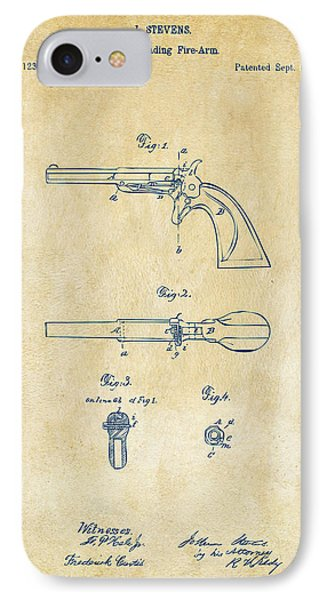1864 Breech Loading Pistol Patent Artwork - Vintage IPhone Case by Nikki Marie Smith
