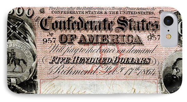 1864 Confederate Five Hundred Dollar Note IPhone Case by Historic Image