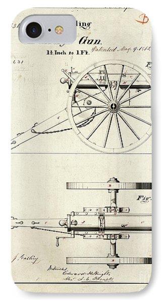 1865 Gatling Battery Gun Patent Drawing IPhone Case by Jon Neidert
