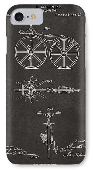 1866 Velocipede Bicycle Patent Artwork - Gray IPhone Case by Nikki Marie Smith