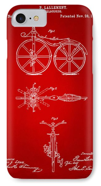 1866 Velocipede Bicycle Patent Artwork Red IPhone Case by Nikki Marie Smith