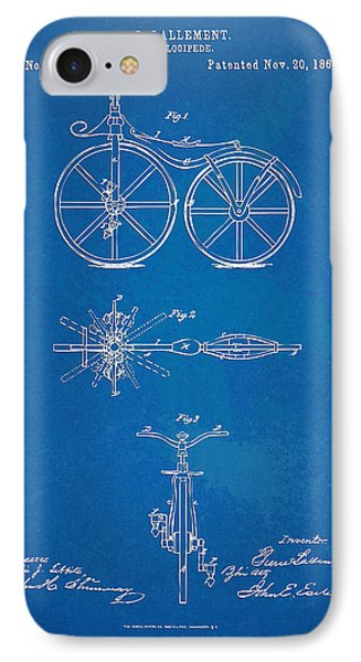 1866 Velocipede Bicycle Patent Blueprint IPhone Case by Nikki Marie Smith