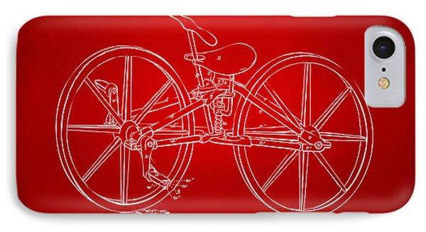 1869 Velocipede Bicycle Patent Artwork Red IPhone Case by Nikki Marie Smith