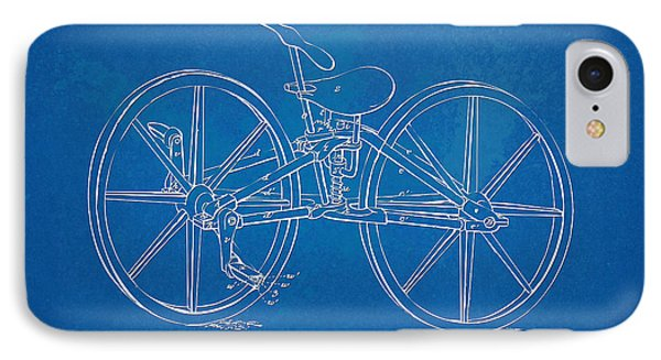 1869 Velocipede Bicycle Patent Blueprint IPhone Case by Nikki Marie Smith
