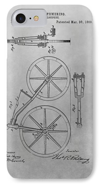 1869 Velocipede Patent Drawing IPhone Case by Dan Sproul
