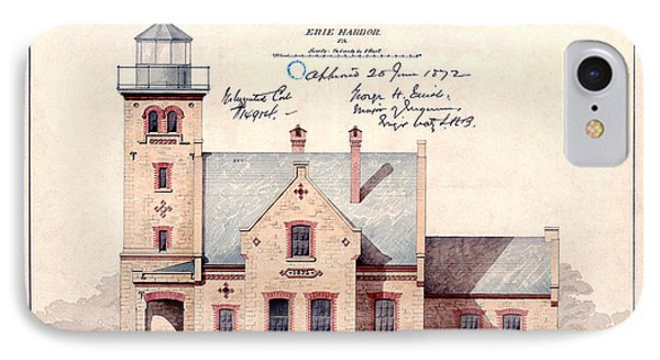 1872 Erie Harbor Lighthouse IPhone Case by Jon Neidert
