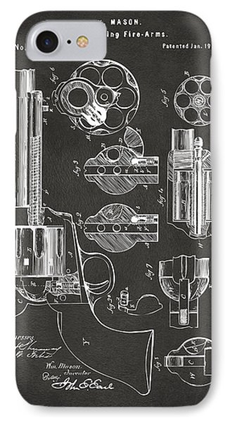 1875 Colt Peacemaker Revolver Patent Artwork - Gray IPhone Case by Nikki Marie Smith