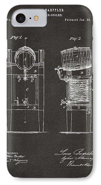 1876 Beer Keg Cooler Patent Artwork - Gray IPhone Case by Nikki Marie Smith