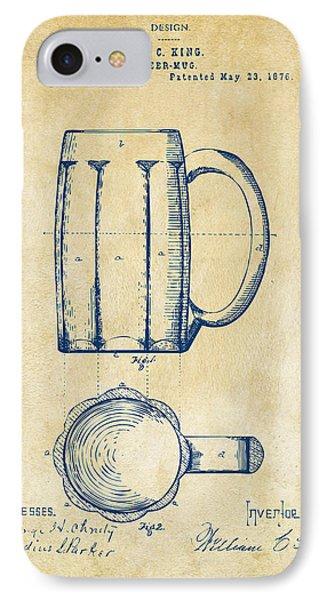 1876 Beer Mug Patent Artwork - Vintage IPhone Case