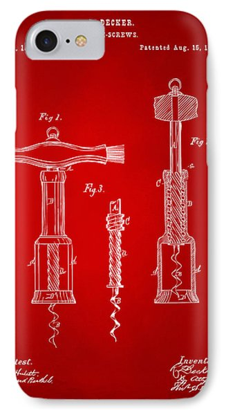 1876 Wine Corkscrews Patent Artwork - Red IPhone Case by Nikki Marie Smith