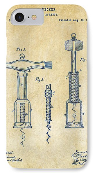 1876 Wine Corkscrews Patent Artwork - Vintage IPhone Case