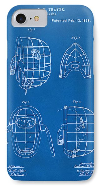 1878 Baseball Catchers Mask Patent - Blueprint IPhone Case by Nikki Marie Smith