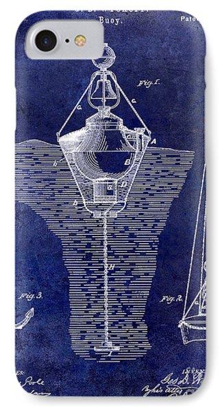 1878 Buoy Patent Drawing Blue IPhone Case by Jon Neidert