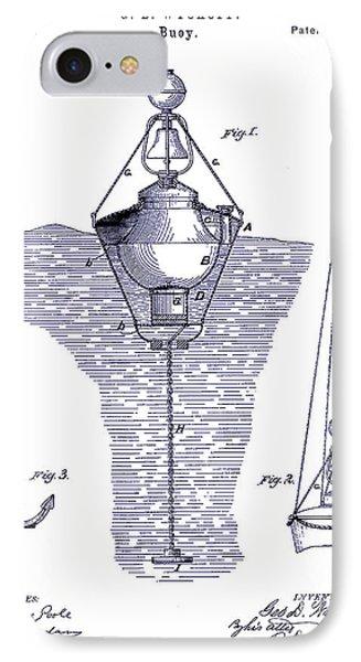 1878 Buoy Patent Drawing Blueprint  IPhone Case by Jon Neidert