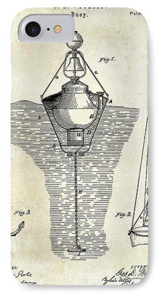 1878 Buoy Patent Drawing IPhone Case by Jon Neidert