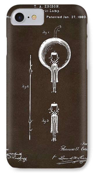 1880 Edison Electric Lamp Patent Artwork Espresso IPhone Case by Nikki Marie Smith